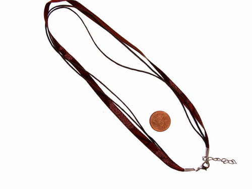 Brown necklace cord with silver clasp