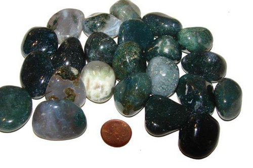 Tumbled Green Moss Agate stones - large