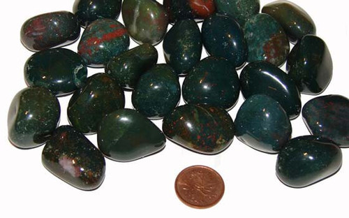 Bloodstone tumbled stones - size medium