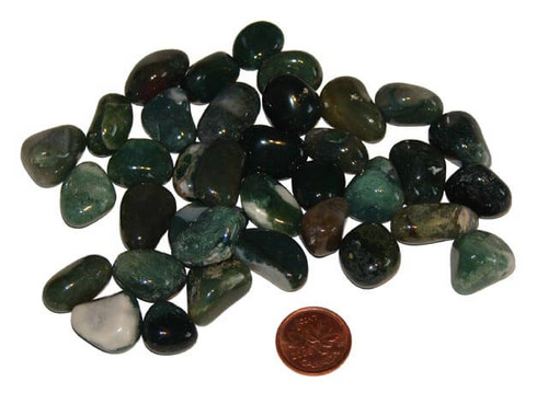 Tumbled Green Moss Agate Stones - size extra small