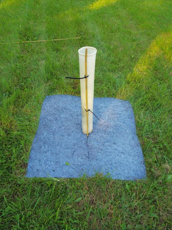 GreenTec Nursery's EarthMat Weed Mat Installed - Shown with Tree Pro Tree Tube