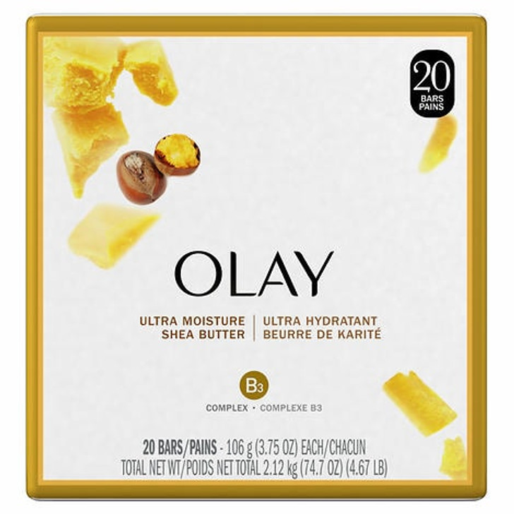 Olay Ultra Moisture Shea Butter Beauty Bar Soap, 20 × 106 g