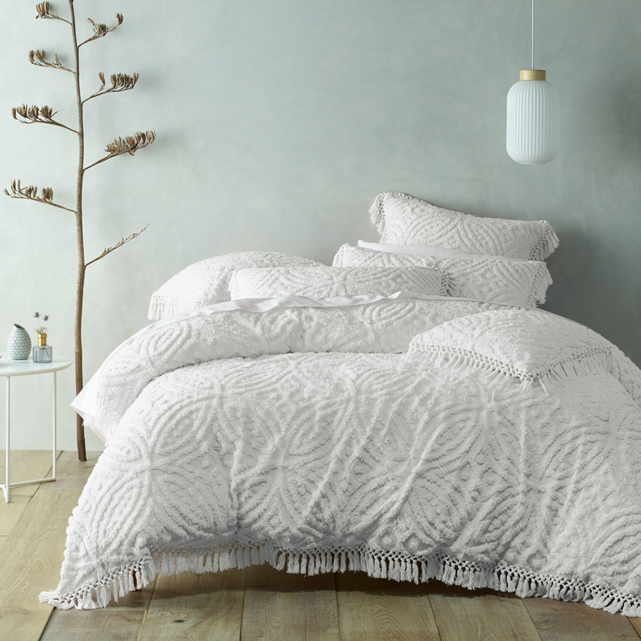 Savannah White Quilt Cover Set Queen Bed Bianca Mylinen