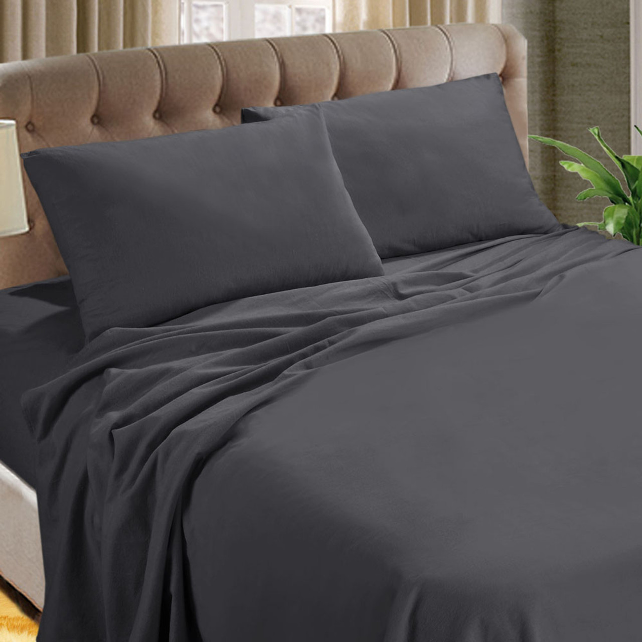 Kingtex Micro Flannel 40cm Sheet Set Charcoal Double Bed My Linen