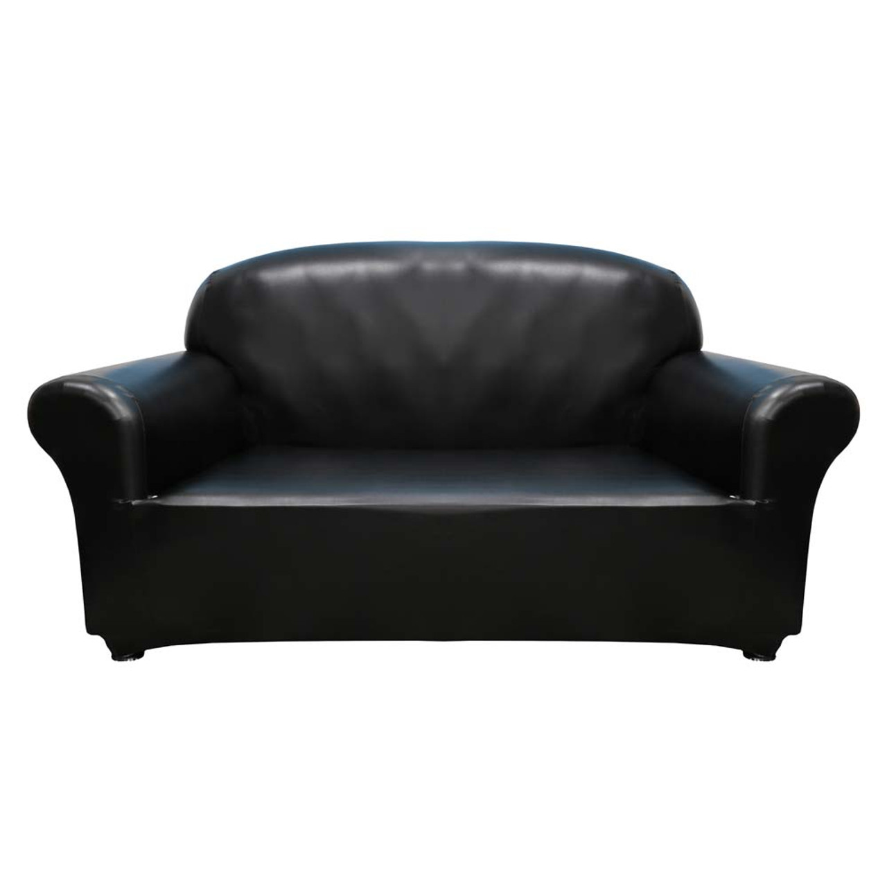 Faux Leather 2 Seater Sofa Cover Black