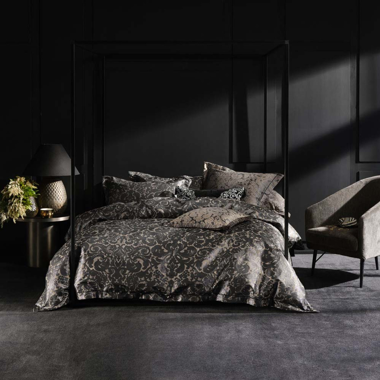 Adalina Black Quilt Cover Set By Grace By Linen House Queen Bed My Linen