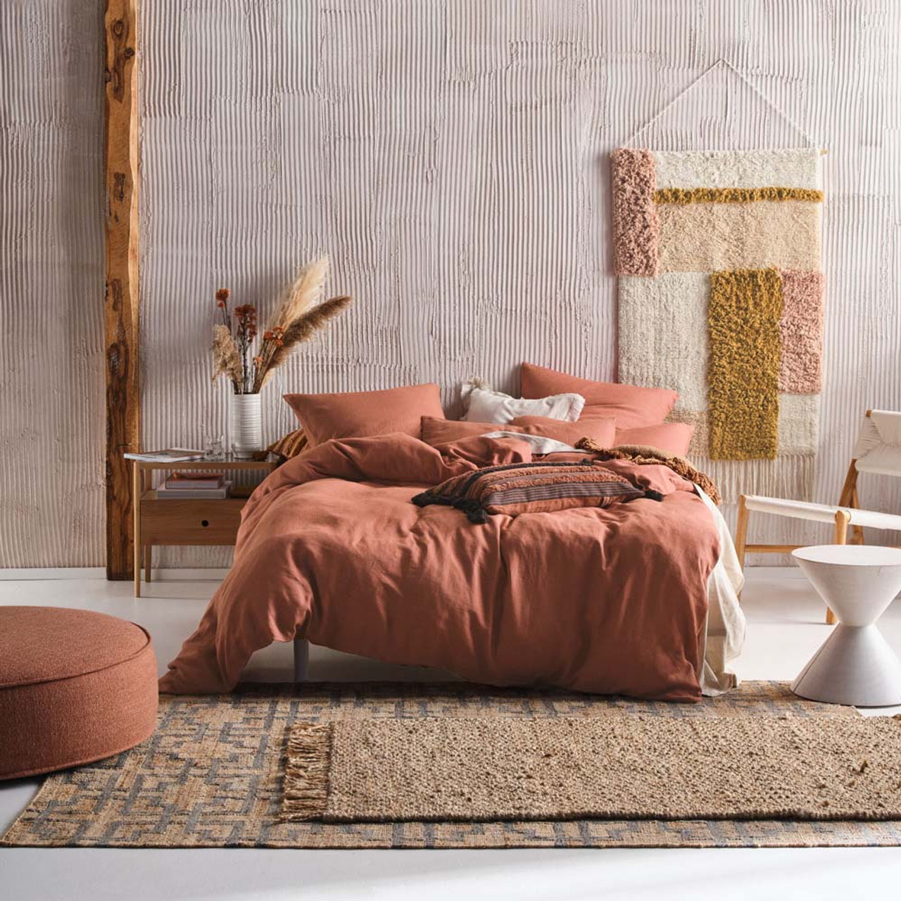 Nimes Rust Quilt Cover Set By Linen House King Bed My Linen