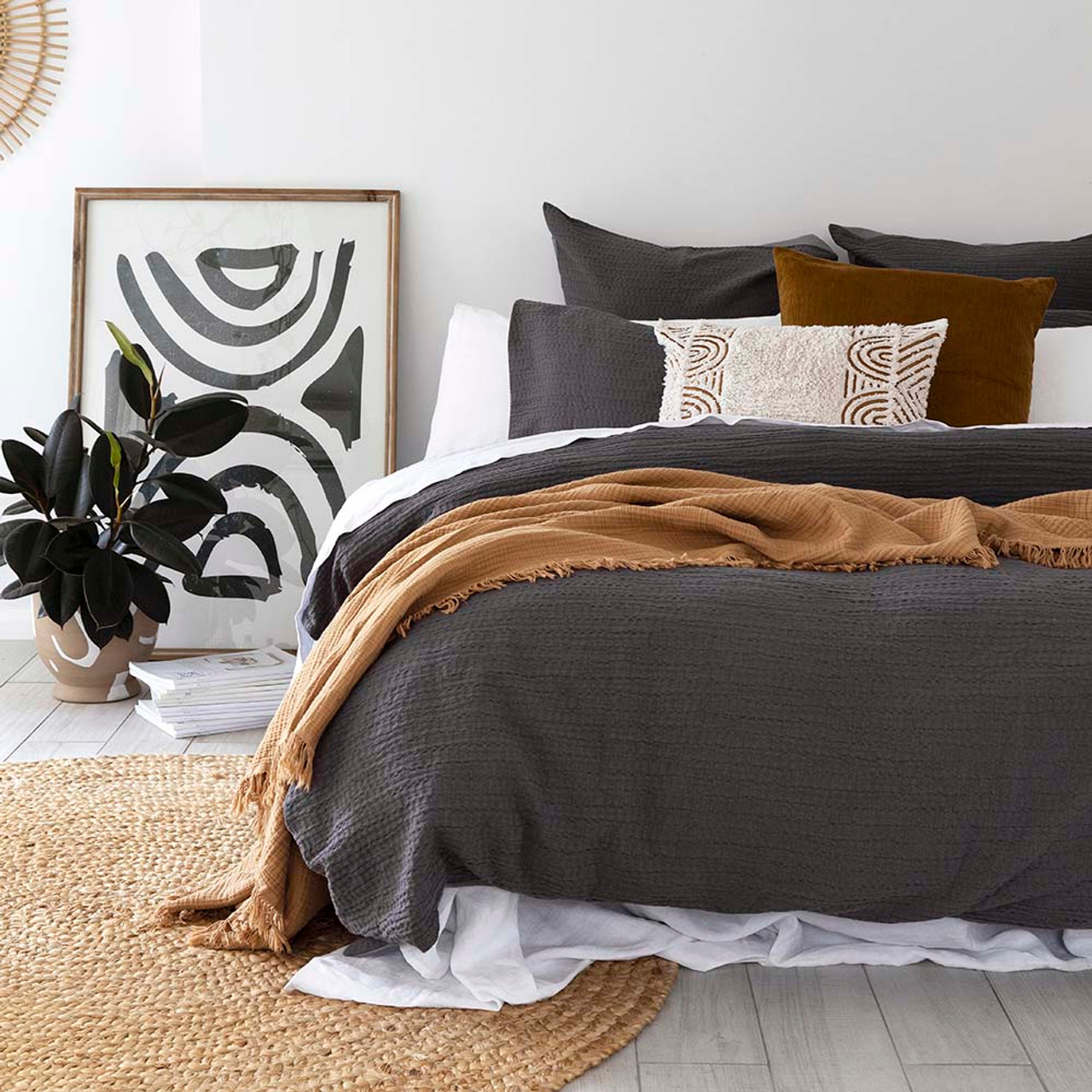 Eucla Charcoal Quilt Cover Set By Bambury Single Bed My Linen