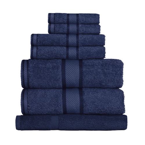 100% Cotton Navy Blue 7pc Bath Sheet Set