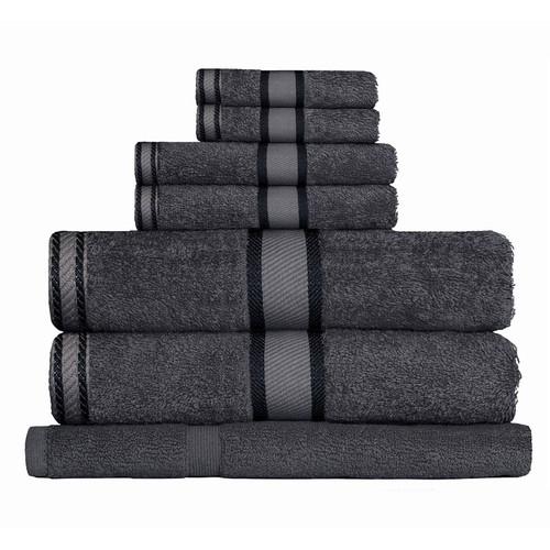 100% Cotton Charcoal Grey 7pc Bath Towel Set