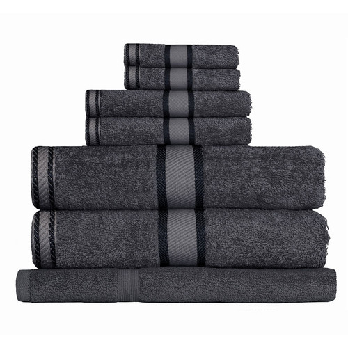 100% Cotton Charcoal Grey 7pc Bath Towel Set