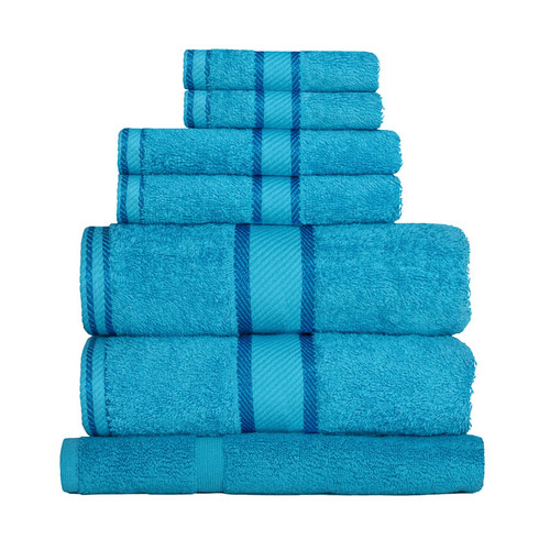 100% Cotton Bright Aqua 7pc Bath Sheet Set