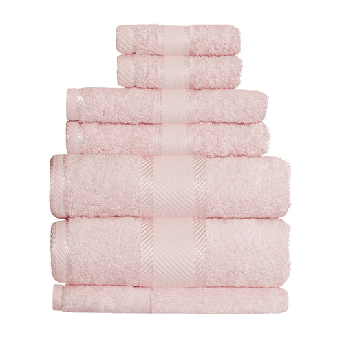 100% Cotton Baby Pink 7pc Bath Sheet Set