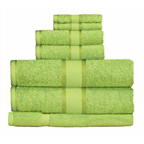 100% Cotton Bright Lime Green 7pc Bath Towel Set