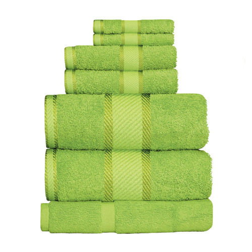 100% Cotton Bright Lime Green 7pc Bath Sheet Set