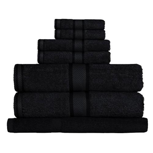 100% Cotton Black 7pc Bath Towel Set