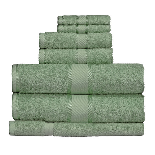 100% Cotton Frost Green 7pc Bath Towel Set