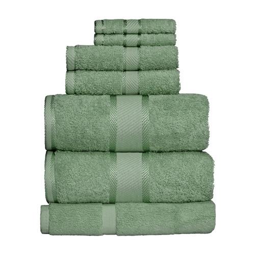 100% Cotton Frost Green 7pc Bath Sheet Set