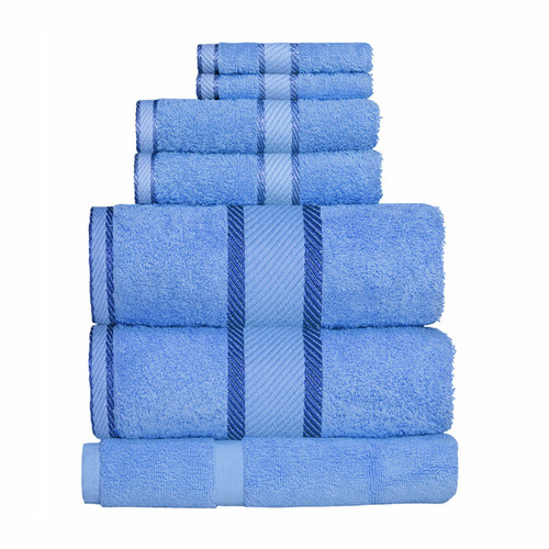100% Cotton Blue 7pc Bath Sheet Set