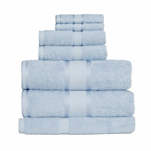 100% Cotton Baby Blue 7pc Bath Sheet Set