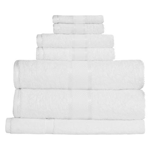 100% Cotton White 7pc Bath Towel Set
