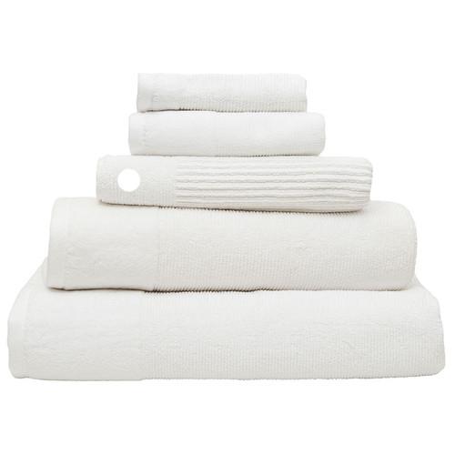 100% Cotton Costa Snow White Ribbed Bath Mat