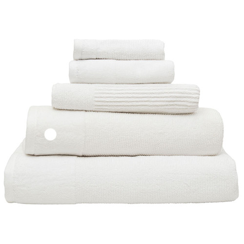 100% Cotton Costa Snow White Ribbed Bath Towel
