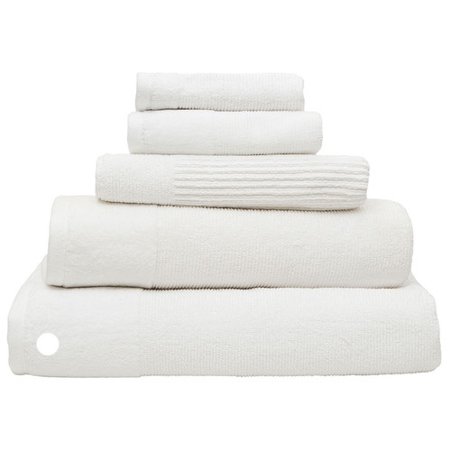 100% Cotton Costa Snow White Ribbed Bath Sheet