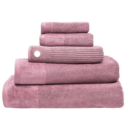 100% Cotton Costa Dusk Pink Ribbed Bath Mat | My Linen