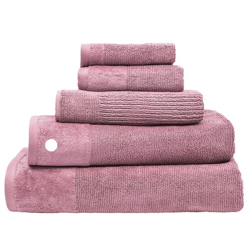 100% Cotton Costa Dusk Pink Ribbed Bath Towel | My Linen