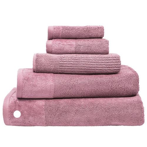100% Cotton Costa Dusk Pink Ribbed Bath Sheet | My Linen