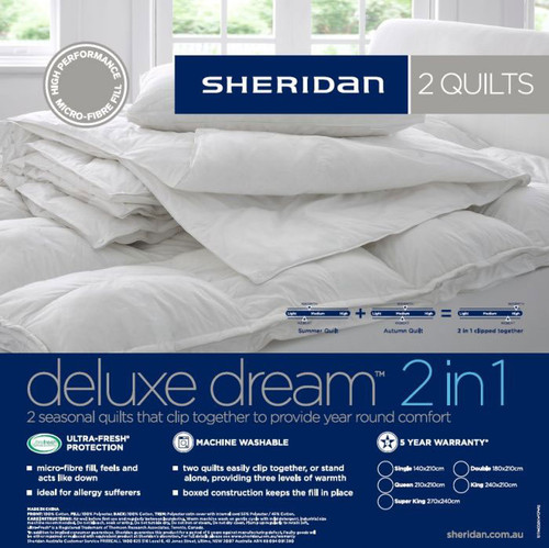 Sheridan Deluxe Dream 2 in 1 Queen Bed Quilt Doona | My Linen