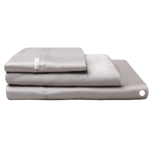 Logan and Mason Egyptian Cotton Flat Sheet Pewter | My Linen