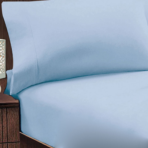 Jenny Mclean Abrazo 100% Egyptian Cotton Flannelette Queen 50cm Bed Combo Blue | My Linen