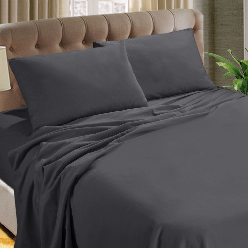 Kingtex Micro Flannel 40cm King Single Bed Sheet Set Charcoal | My Linen