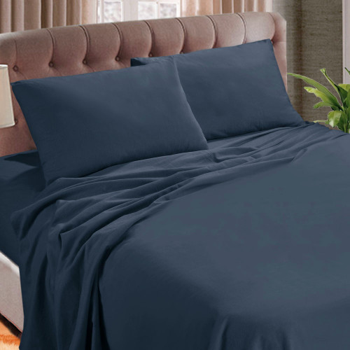 Kingtex Micro Flannel 40cm Double Bed Sheet Set Denim | My Linen