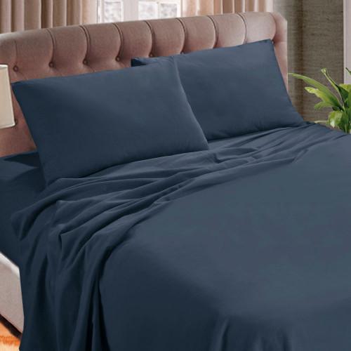 Kingtex Micro Flannel 40cm Queen Bed Sheet Set Denim | My Linen