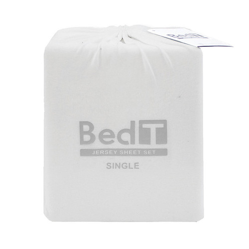 BedT 100% Cotton Jersey Knit Sheet Set White Single Bed   My Linen