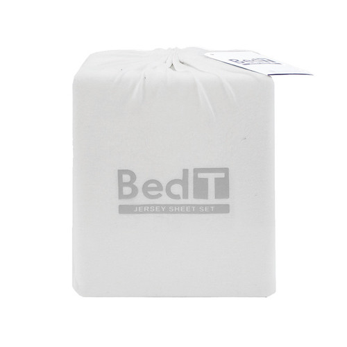BedT 100% Cotton Jersey Knit Sheet Set White Double Bed | My Linen
