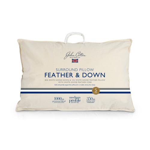 John Cotton Surround 85/15 Goose Feather & Down Medium Profile Pillow | My Linen