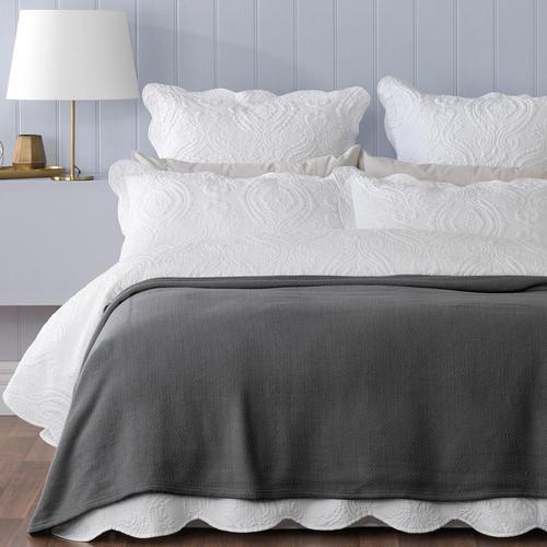 Norwood Single / Double Bed Blanket Coal | My Linen