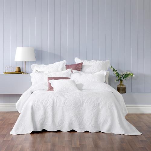 Bianca Cordelia White Double Bed Bedspread Set   My Linen