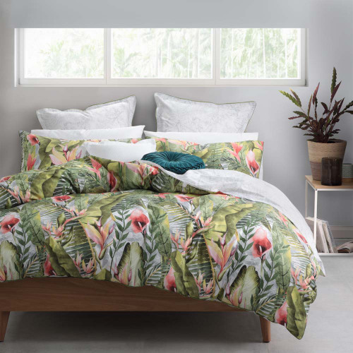 Logan and Mason Kalena Olive King Bed Quilt Cover Set | My Linen