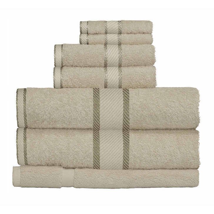 100% Cotton Linen / Latte Coffee 7pc Bath Towel Set