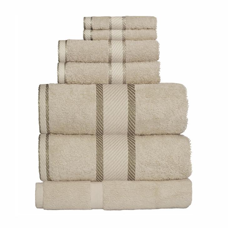 100% Cotton Linen / Latte Coffee 7pc Bath Sheet Set