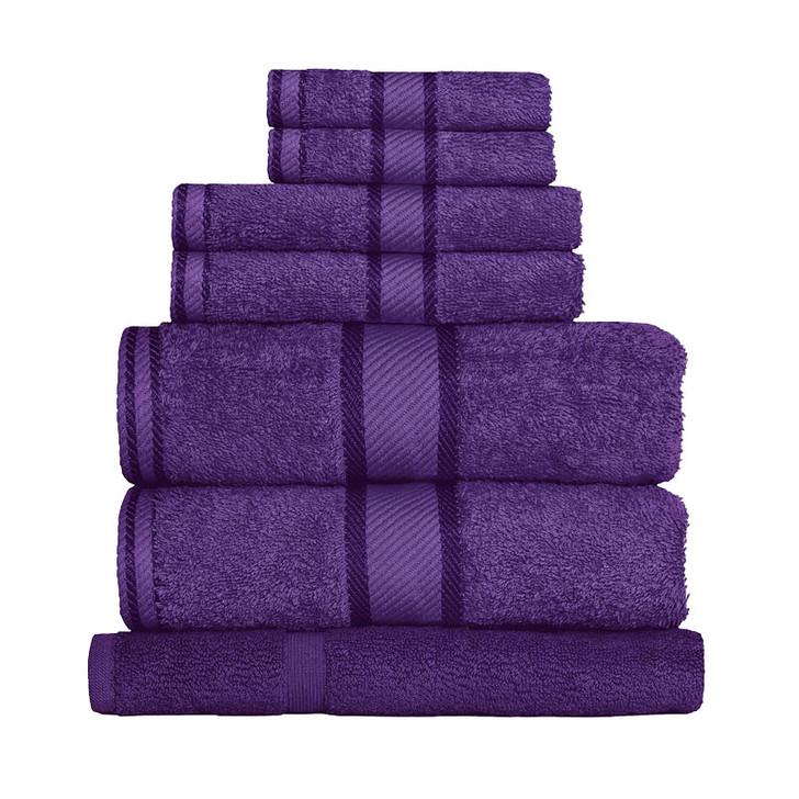 100% Cotton Purple 7pc Bath Sheet Set