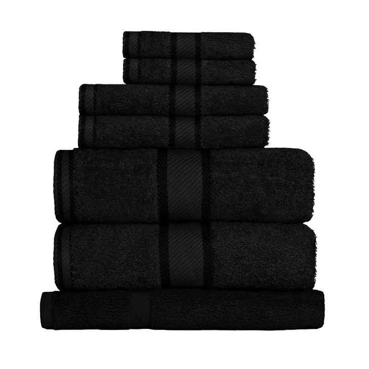 100% Cotton Black 7pc Bath Sheet Set