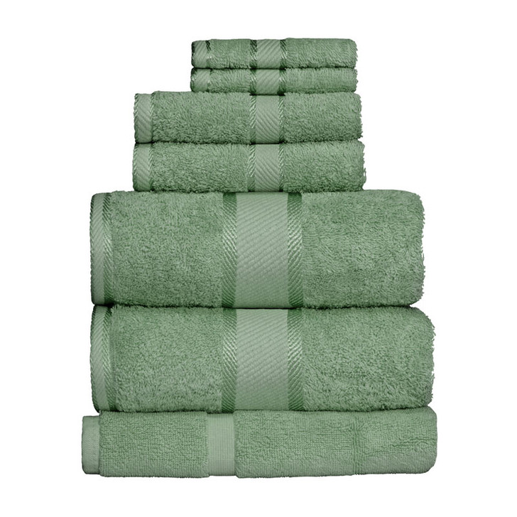 100% Cotton Frost Green 7pc Bath Sheet Set