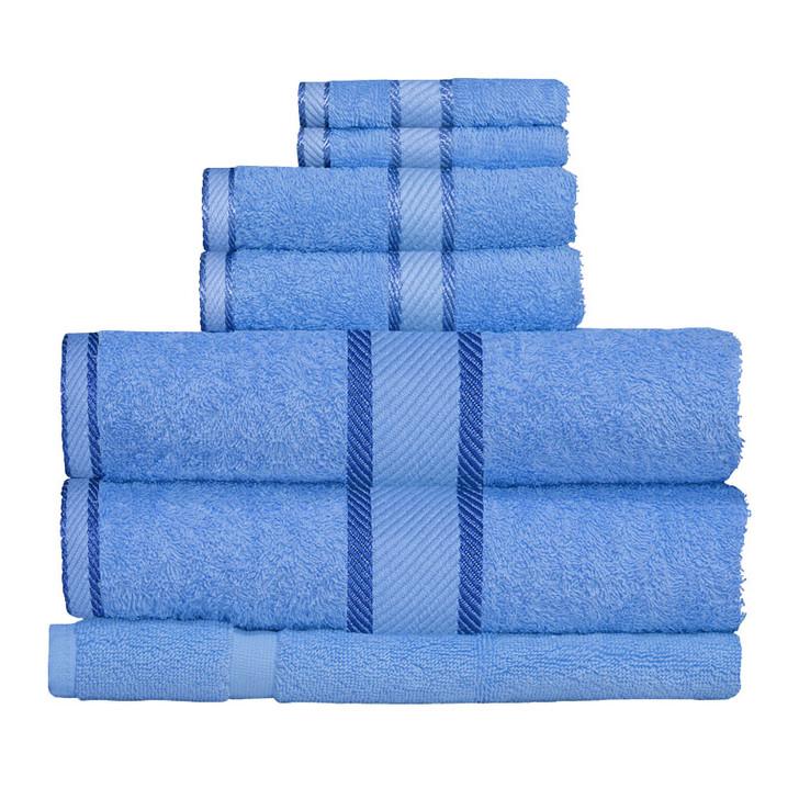 100% Cotton Blue 7pc Bath Towel Set