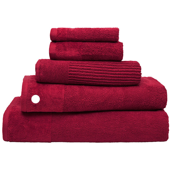 100% Cotton Costa Raspberry Ribbed Bath Towel